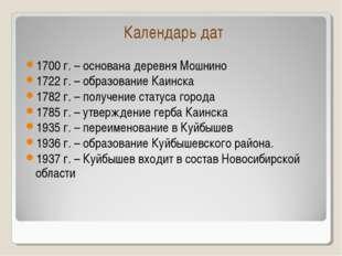 Календарь дат 1700 г. – основана деревня Мошнино 1722 г. – образование Каинск