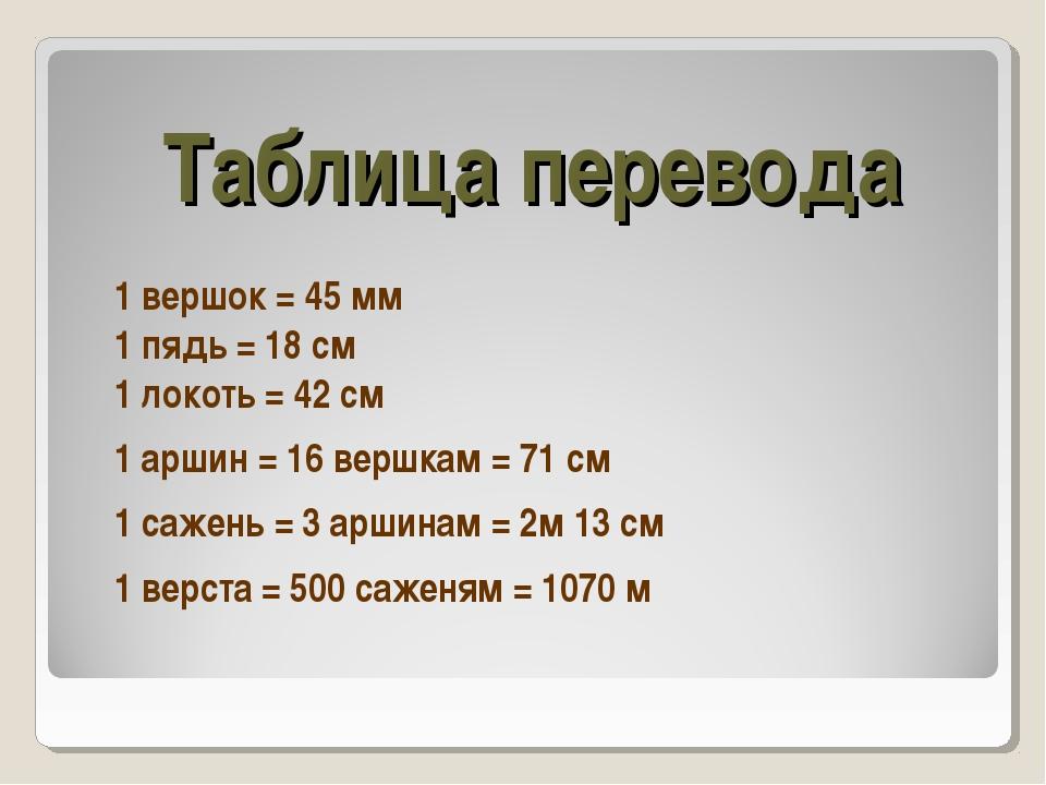Таблица перевода 1 вершок = 45 мм 1 пядь = 18 см 1 локоть = 42 см  1 аршин...
