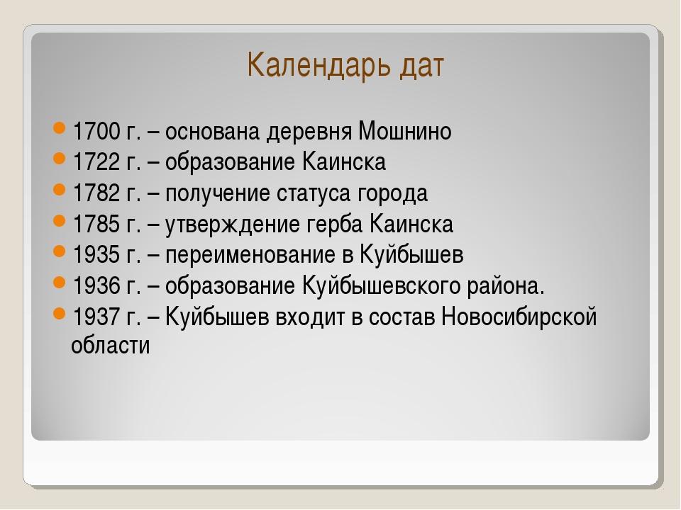 Календарь дат 1700 г. – основана деревня Мошнино 1722 г. – образование Каинск...