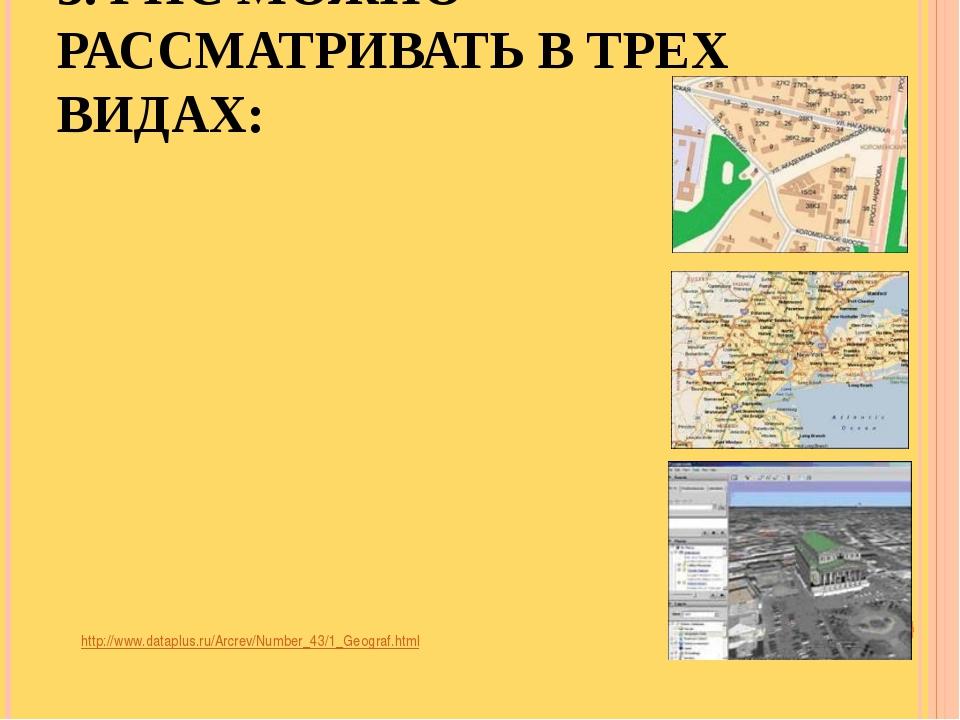 3. ГИС МОЖНО РАССМАТРИВАТЬ В ТРЕХ ВИДАХ: http://www.dataplus.ru/Arcrev/Number...