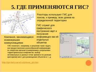 5. ГДЕ ПРИМЕНЯЮТСЯ ГИС? http://gis-laris.narod.ru/primen_gis.htm Риэлторы исп
