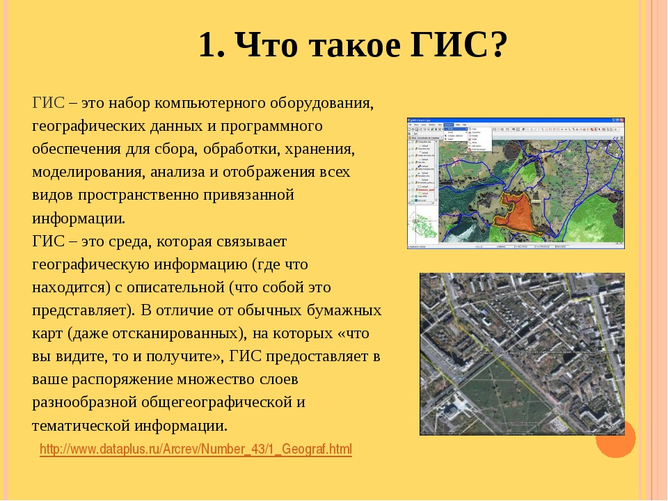 http://www.dataplus.ru/Arcrev/Number_43/1_Geograf.html 1. Что такое ГИС? ГИС...