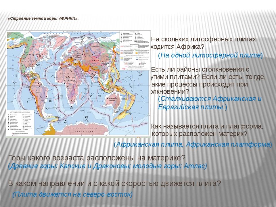 «Строение земной коры АФРИКИ». На скольких литосферных плитах находится Афр...
