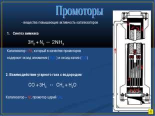 - вещества повышающие активность катализаторов Синтез аммиака 3H2 + N2 ↔ 2NH3