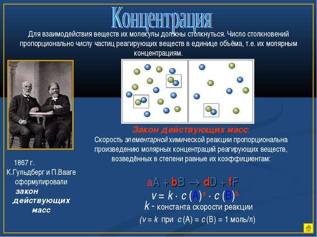 Для взаимодействия веществ их молекулы должны столкнуться. Число столкновений...