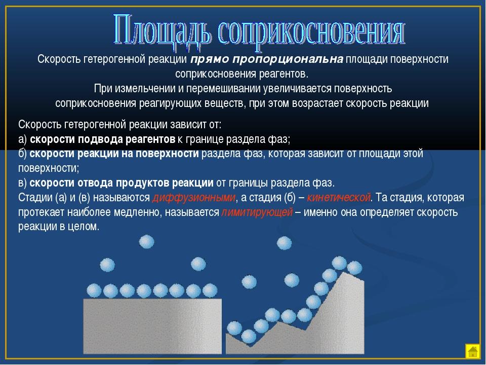 Скорость гетерогенной реакции прямо пропорциональна площади поверхности сопри...