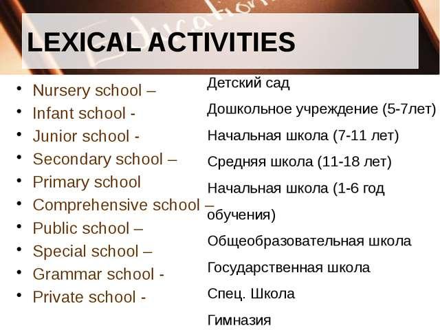 LEXICAL ACTIVITIES Nursery school – Infant school - Junior school - Secondary...