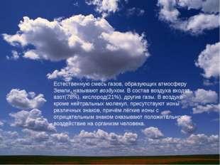 Естественную смесь газов, образующих атмосферу Земли, называют воздухом. В со