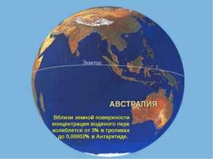 Вблизи земной поверхности концентрация водяного пара колеблется от 3% в тропи