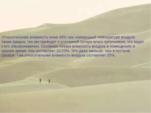 Относительная влажность ниже 40% при нормальной температуре воздуха также вре