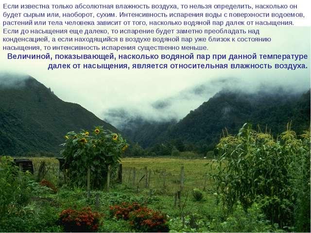 Если известна только абсолютная влажность воздуха, то нельзя определить, наск...