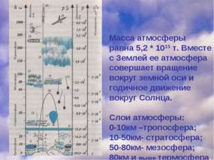Масса атмосферы равна 5,2 * 1015 т. Вместе с Землей ее атмосфера совершает вр
