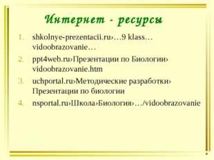 Интернет - ресурсы shkolnye-prezentacii.ru›…9 klass… vidoobrazovanie… ppt4web