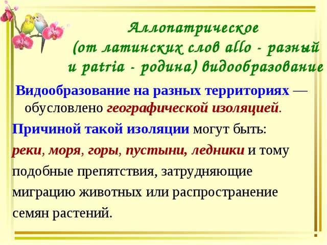 Аллопатрическое (от латинских слов allo - разный и patria - родина) видообраз...