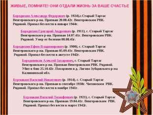 ЖИВЫЕ, ПОМНИТЕ! ОНИ ОТДАЛИ ЖИЗНЬ ЗА ВАШЕ СЧАСТЬЕ Бородихин Александр Федорови