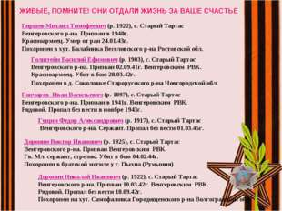 ЖИВЫЕ, ПОМНИТЕ! ОНИ ОТДАЛИ ЖИЗНЬ ЗА ВАШЕ СЧАСТЬЕ Гиршев Михаил Тимофеевич (р