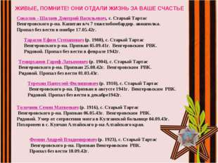 ЖИВЫЕ, ПОМНИТЕ! ОНИ ОТДАЛИ ЖИЗНЬ ЗА ВАШЕ СЧАСТЬЕ Соколов - Шалаев Дмитрий Ва