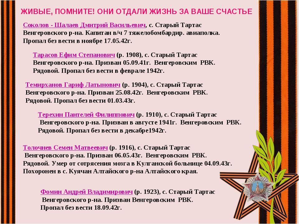 ЖИВЫЕ, ПОМНИТЕ! ОНИ ОТДАЛИ ЖИЗНЬ ЗА ВАШЕ СЧАСТЬЕ Соколов - Шалаев Дмитрий Ва...