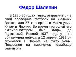 Федор Шаляпин В 1935-36 годах певец отправляется в свои последние гастроли на
