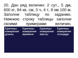 20. Дан ряд величин: 2 сут., 5 дм, 600 кг, 84 кв. см, 3 ч, 4 т, 8 км 100 м.