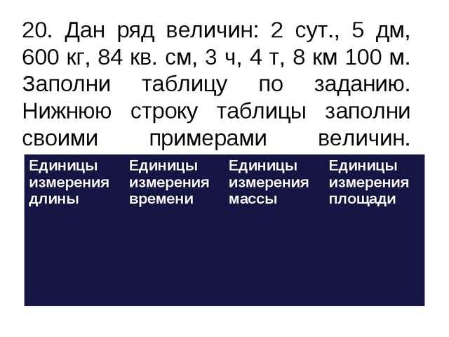 20. Дан ряд величин: 2 сут., 5 дм, 600 кг, 84 кв. см, 3 ч, 4 т, 8 км 100 м....