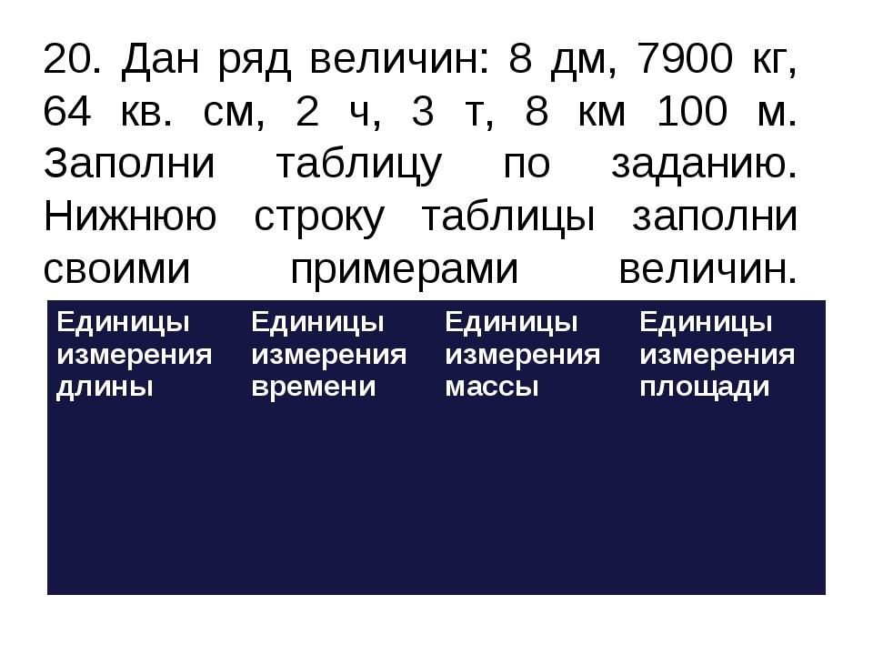 20. Дан ряд величин: 8 дм, 7900 кг, 64 кв. см, 2 ч, 3 т, 8 км 100 м. Заполни...