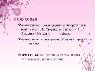 СЛУХОВАЯ музыкальные произведения на литературную тему (вальс Г. В. Свиридов