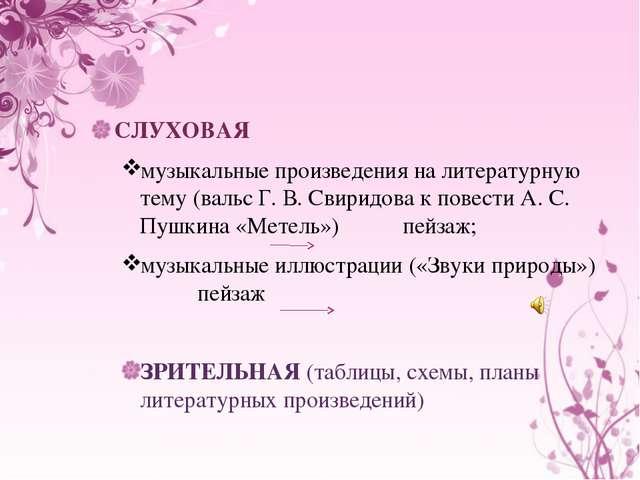 СЛУХОВАЯ музыкальные произведения на литературную тему (вальс Г. В. Свиридов...