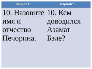 Вариант 1 Вариант 2 10.Назовите имя и отчество Печорина. 10. Кем доводилсяАза