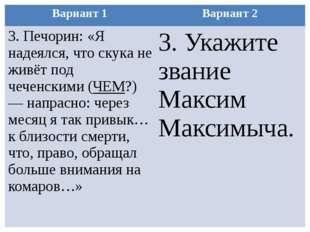 Вариант 1 Вариант 2 3.Печорин: «Я надеялся, что скука не живёт под чеченскими