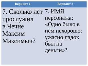 Вариант 1 Вариант 2 7.Сколько лет прослужил в Чечне МаксимМаксимыч? 7.ИМЯперс