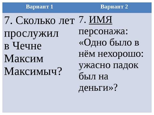 Вариант 1 Вариант 2 7.Сколько лет прослужил в Чечне МаксимМаксимыч? 7.ИМЯперс...