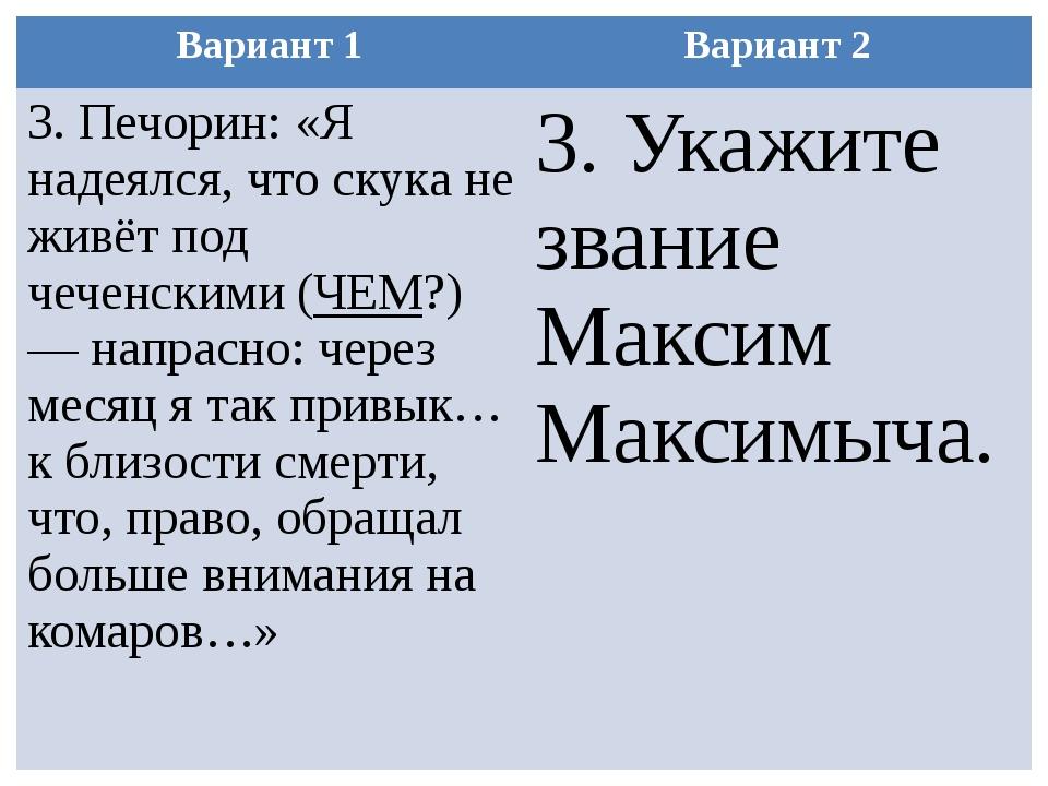 Вариант 1 Вариант 2 3.Печорин: «Я надеялся, что скука не живёт под чеченскими...