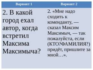 Вариант 1 Вариант 2 2.В какой город ехал автор, когда встретил МаксимаМаксимы