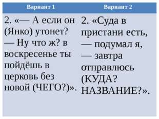 Вариант 1 Вариант 2 2.«— А если он (Янко) утонет? — Ну что ж? в воскресенье т