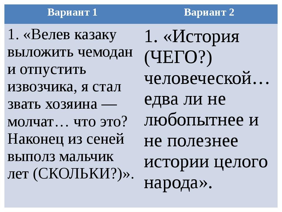 Вариант 1 Вариант 2 1.«Велев казаку выложить чемодан и отпустить извозчика, я...