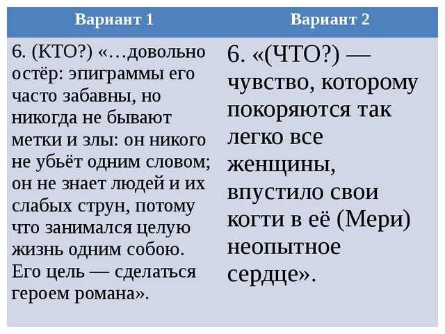 Вариант 1 Вариант 2 6.(КТО?) «…довольно остёр: эпиграммы его часто забавны, н...