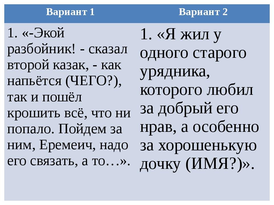 Вариант 1 Вариант 2 1. «-Экой разбойник! - сказал второй казак, - как напьётс...