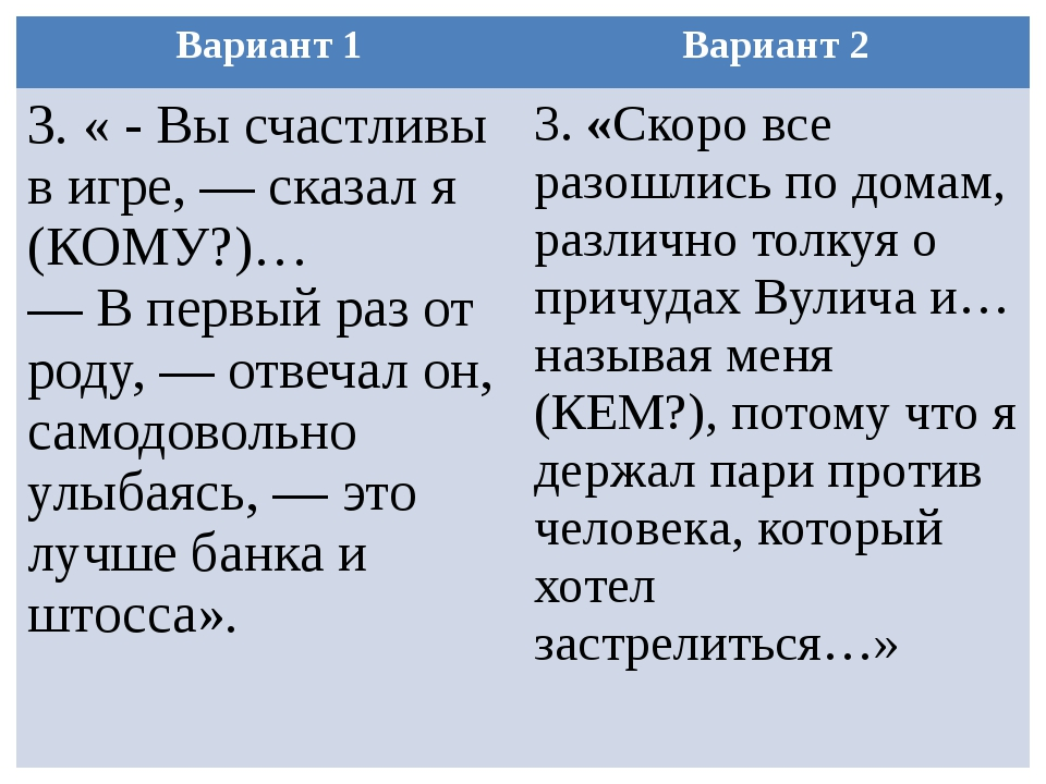 Вариант 1 Вариант 2 3.« - Вы счастливы в игре, — сказал я (КОМУ?)… — В первый...