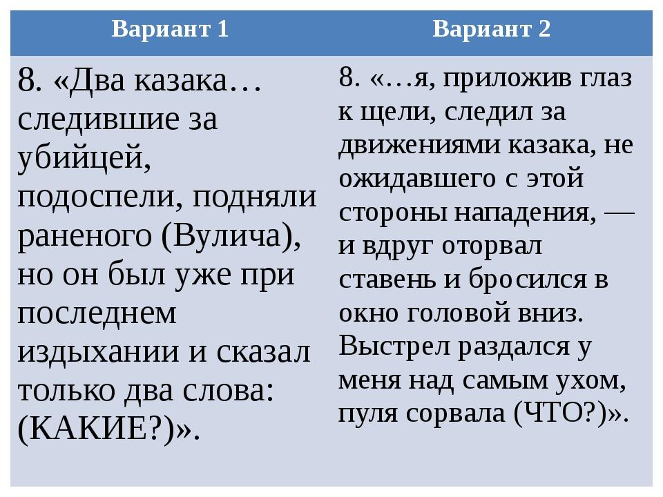 Вариант 1 Вариант 2 8.«Два казака… следившие за убийцей, подоспели, подняли р...