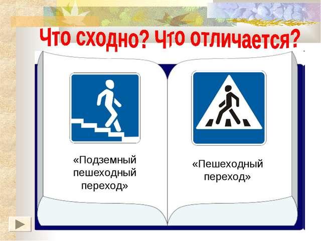 «Подземный пешеходный переход» «Пешеходный переход»