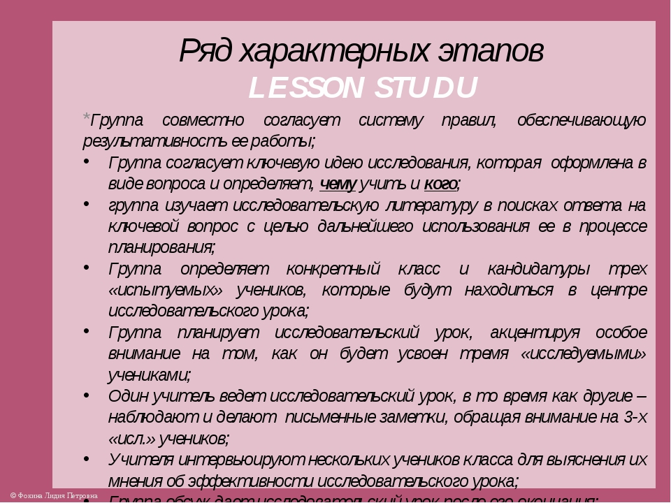 Ряд характерных этапов LESSON STUDU *Группа совместно согласует систему прави...