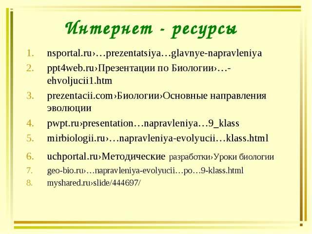 Интернет - ресурсы nsportal.ru›…prezentatsiya…glavnye-napravleniya ppt4web.ru...