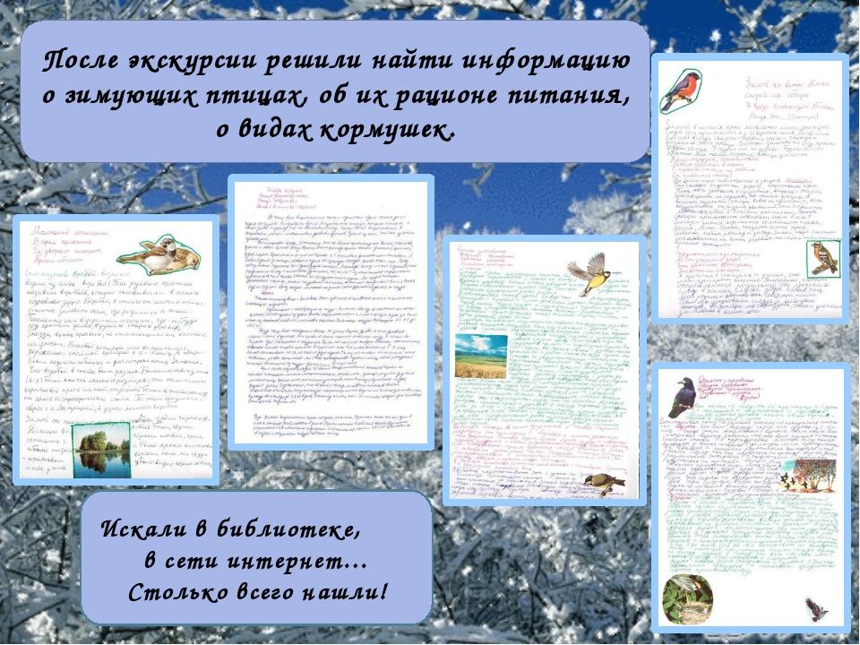 После экскурсии решили найти информацию о зимующих птицах, об их рационе пита...