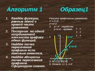 Решите графически уравнение: х²-х-2=0 х²=х+2 у= х² - парабола; у=х+2 – прямая