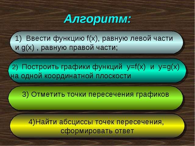 Алгоритм: 1) Ввести функцию f(x), равную левой части и g(x) , равную правой ч...