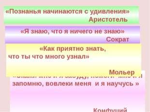 «Познанья начинаются с удивления» Аристотель «Скажи мне и я забуду, помоги мн