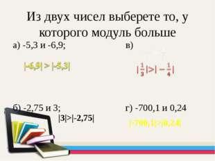 Из двух чисел выберете то, у которого модуль больше а) -5,3 и -6,9; в) б) -2,