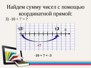Найдем сумму чисел с помощью координатной прямой: 3) -10 + 7 = ? -10 + 7 = -3