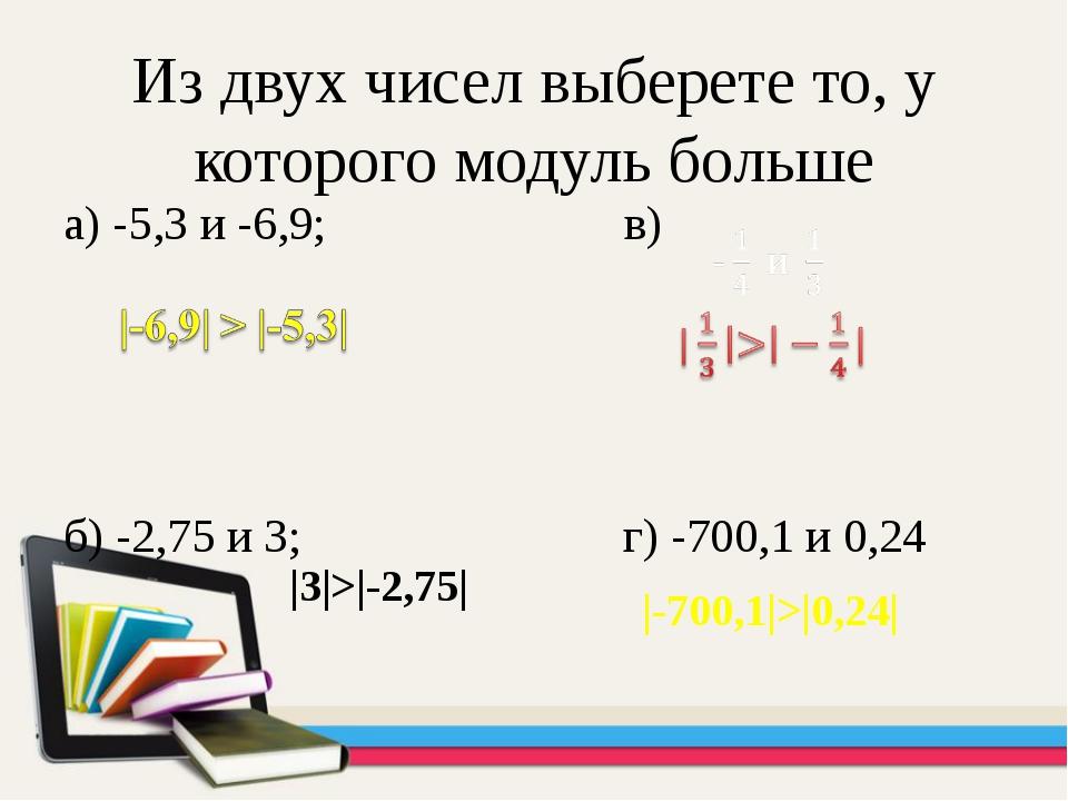 Из двух чисел выберете то, у которого модуль больше а) -5,3 и -6,9; в) б) -2,...